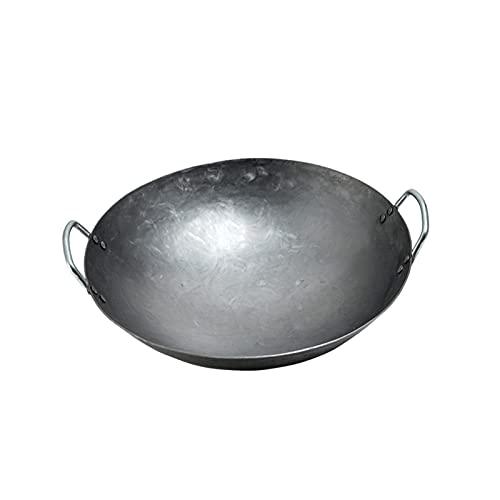 Antihaft Eisen Wok, Unbeschichtet Chinesisch Haushalt Bratpfanne Doppelohr Pfannenrühren Wok Pan zum Elektroherd (Size : 36cm/14.1in)
