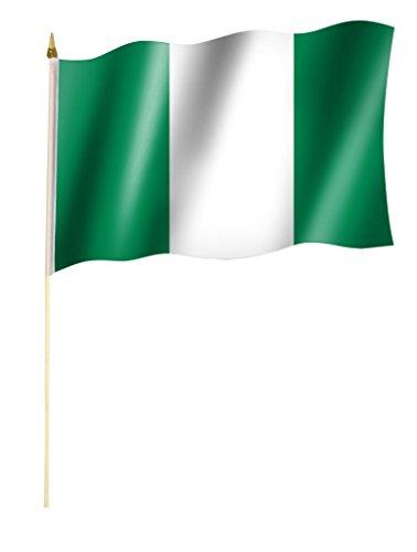 Stockflagge/Stockfahne NIGERIA Flagge/Fahne ca. 30 x 45 cm mit ca. 60cm Stab/Stock