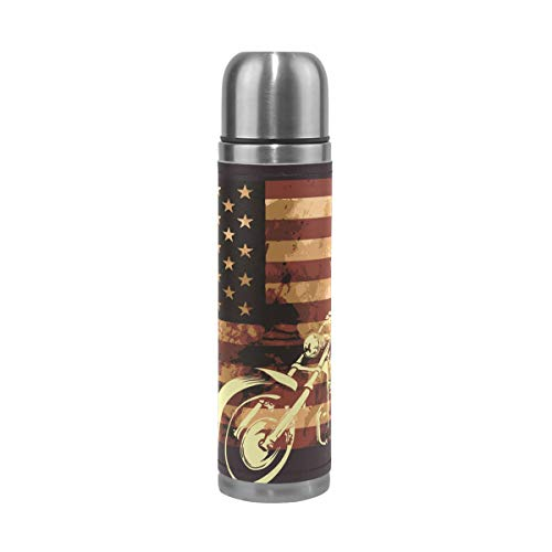 TIZORAX Old American Flag with Motorcycle Skull Double Wall Vacuum Cup Insulated Stainless Steel Water Bottle Travel Mug Thermos Coffee Cup 500 ml