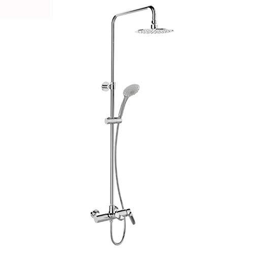 Sistemi per vasche da bagno e docce Kit Doccia Doccia termostatica Doccia per Bagno Colonna Doccia monocomando a Doppio Comando con Acqua (Color : Silver, Size : 129cm)