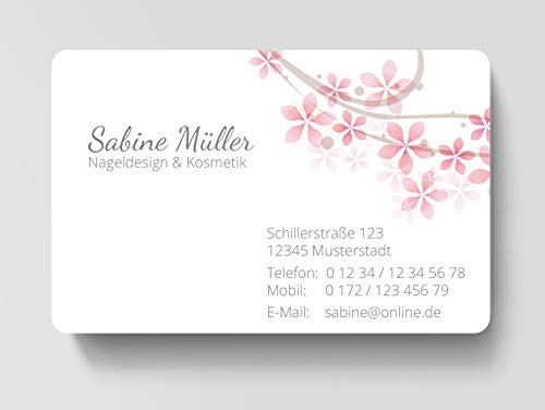 100 Visitenkarten, laminiert, 85 x 55 mm, inkl. Kartenspender - Blüte Rosa