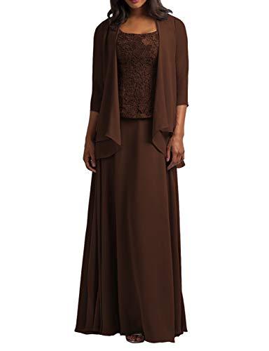 HUINI Vestidos de Noche Vestido de Fiesta para Mujer Largos Gasa Vestidos para la Madre de la Novia Vestidos de Cóctel Marrón 34