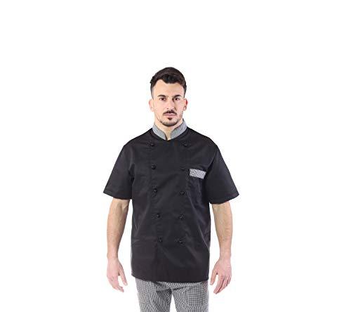 Giacca Cuoco e Chef Nera - Profili Pied De Poule - Manica Corta - Uomo - Bottoni Antipanico - Casacca per Ristorante e Cucina - Made in Italy (XL)