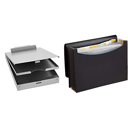 AmazonBasics Metal Clipboard with Paper Storage, Aluminum - Three-Tier & Expanding Organizer File Folder, Letter Size - Black