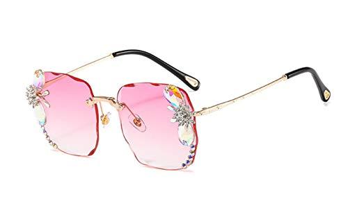 Chagoo Gafas de sol Atlanta Gem, gafas sin montura con protección UV, resaltan la cara pequeña y elegante con estuche para gafas (Rosa)