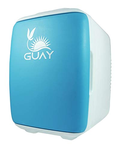 Guay Outdoors Portable Thermoelectric Mini Fridge Cooler and Warmer – 4 Liter/6 can. AC/DC Great for Car, Travels, Dorm, Camping and Bedroom - Blue