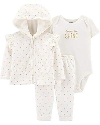 Carter's Baby Girls' 3-Piece Cardigan Sets (18 Months, Vanilla Cream/Dot)