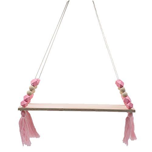 Sala de estar, dormitorio, columpio de jardín para habitación de niños, estante de pared de chapa de madera con borlas, (rosa)