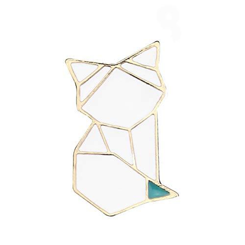 JiuErDP DIY Origami Goteo Broche de Aceite Animal de Dibujos Animados Forma de Origami Broche de Gato Pin Insignia Animales (Paquete de 2) Broches y alfileres