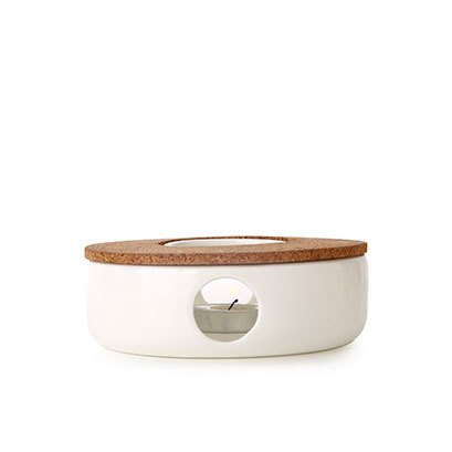TEA SOUL Zeer elegante theepot Warmer in Porselein met kurk standaard. De perfecte ondersteuning om je theepot altijd warm te houden, wit
