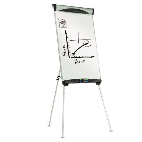 Tripé magnético Quartet apagável a seco, cavalete magnético apagável a seco, altura ajustável, 183 cm de altura, prata