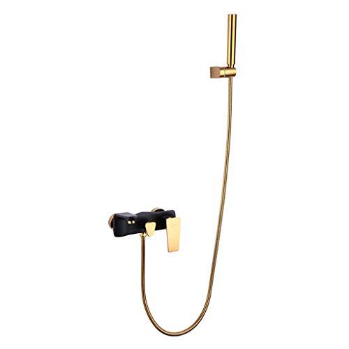 Sistemi per vasche da bagno e docce Sistema Doccia Rubinetto Vasca Valvola miscelatrice fissata al Muro Doccia e Costume Caldo e Freddo (Color : Gold, Size : 110cm)