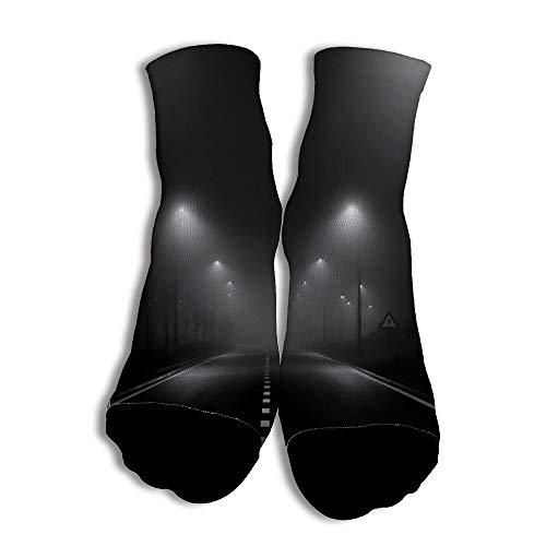 EbroSiempre Black Pavement Personalizado Calcetines únicos de corte bajo con Modelo hermoso para Hombres Partido de baloncesto White