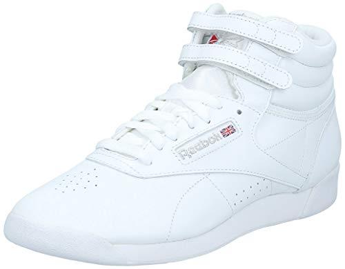 Reebok Freestyle Hi - Zapatillas de cuero para mujer, Blanco (Int-White/Silver), 40 EU