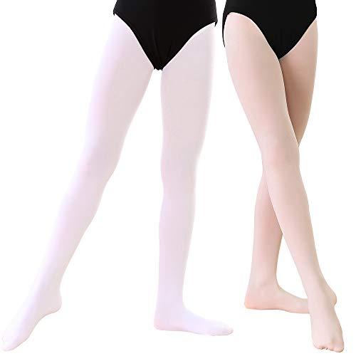 Soudittur  Ballett Strumpfhose für Mädchen und Damen mit Fuß Ultra-Stretch, Ballett Rosa + Weiß, Gr.- S (110-125 cm)