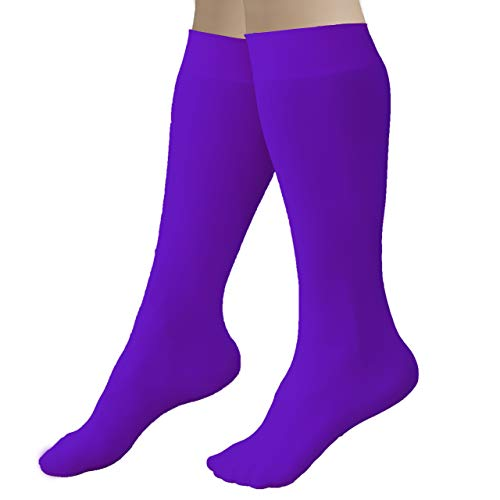 CRS Cross Figure Skating Socks (2 Pair) Knee High Tights for Ice Skates, Footed Skate Socks, Dance tights (Passion Purple)