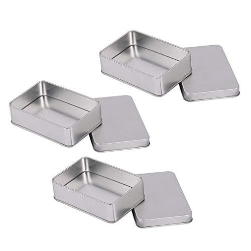 sharprepublic 3 Stück Rechteckige Seifendose aus Metall Seifenbox, Seifenbehälter, Blechdose, Metalldose für Reisen