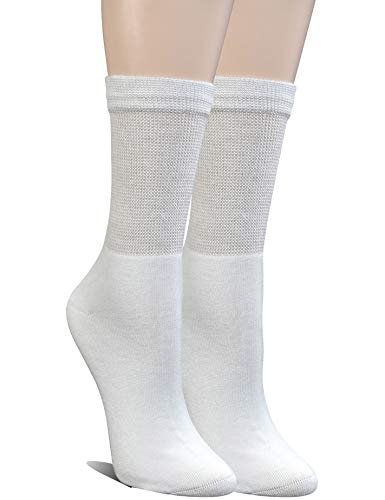 Yomandamor Womens Bamboo Diabetic Crew Socks With Seamless Toe,6 Pairs Size 9-11
