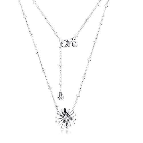PANDOCCI 2020 Frühling Pflaster Gänseblümchen Blume Collier Anhänger Halsketten für Frauen 925 Silber DIY Passend für Original Pandora Armbänder Charme Modeschmuck