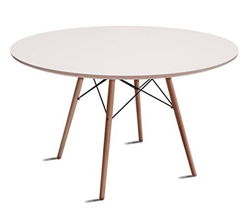 Beat Dining-110, Mesa patas madera y sobre madera blanco estilo nórdico para comedor, cocina , balcón , terraza interior