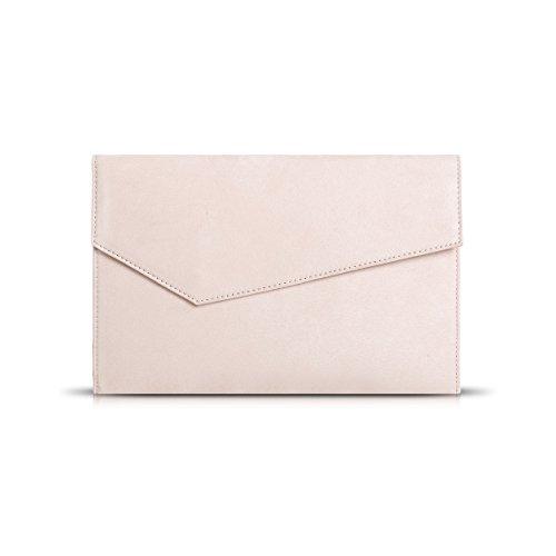 GESSY Damen Clutch / Clutch aus Velourslederimitat, mit Magnethaken und Tasche, Pink (Hellrosa 3), Large