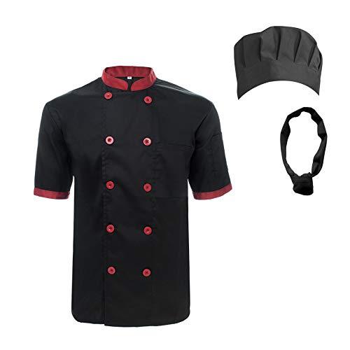 TOPTIE Unisex Short Sleeve Cooking Chef Coat Jacket & Hat & Bandana Set-Black red-XL