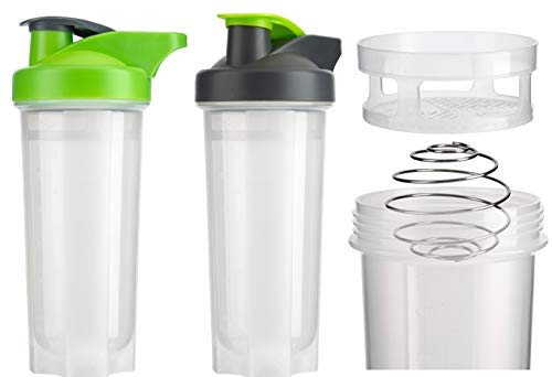 HOMESHOPA Set of 2 Sports Shaker Bottles 700ml with Air-Tight Snap-Lock Closure, Mesh Gauze, Metal Wire Mixer Ball Blender Mixer Perfect for Protein Shakes, Nutrition & Smoothies