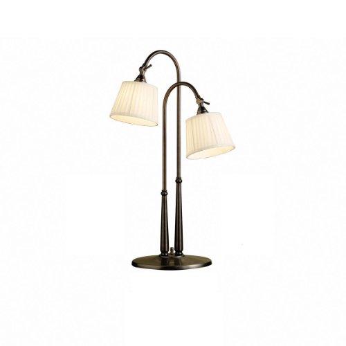 Big Sale Kichler Lighting 70228BBZ Blaine 26.5-Inch Portable Adjustable 2-Light Desk Lamp, Burnished Bronze with Off-White Pleated Shade