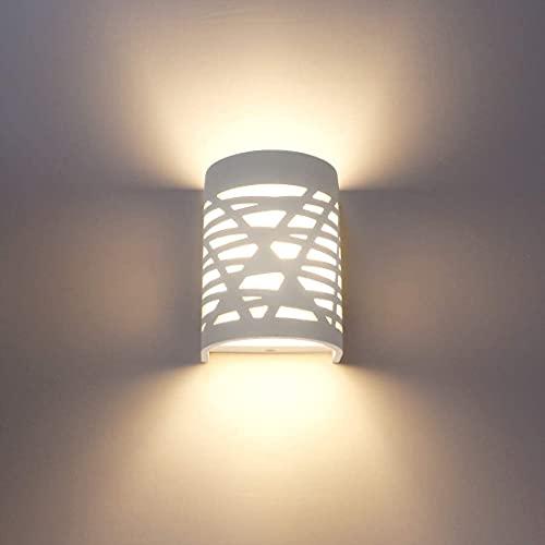 Kemini Lámpara de pared LED para interior, 1 unidad, 7 W, color blanco, lámpara de escayola, diseño moderno, luz hacia arriba y hacia abajo, luz de pared, luz blanca cálida DrinnenK (blanco-2)