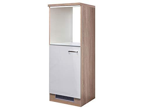 Flex- Well Demi-Geräteumbauschrank für Backofen+Kühlschrank 60cm Hochglanz Weiß Sonoma Eiche - Valencia