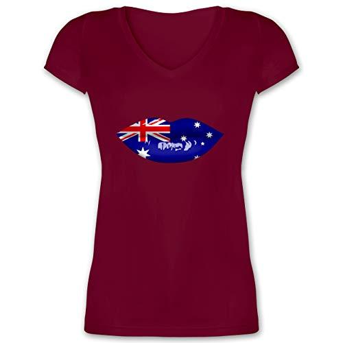 Länder - Lippen Bodypaint Australien - M - Bordeauxrot - Lippenstift - XO1525 - Damen T-Shirt mit...