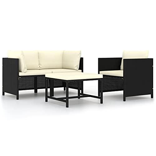 vidaXL Set de Sofás de Jardín 4 Piezas y Cojines Patio Terraza Balcón Salón Sala de Estar Exterior Muebles Mobiliario Almohada Ratán Sintético Negro