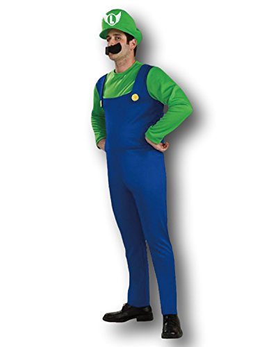 Rubber Johnnies TM Adulto Mario Bros Disfraz Luigi Fiesta De Disfraces - Verde, One Size