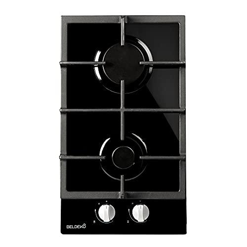 Plaque de cuisson Gaz verre noir 2 feux - BELDEKO - Gaz...