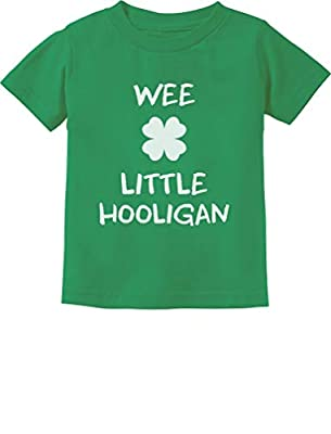 Funny St. Patrick's Day Cute Wee Little Hooligan Irish Toddler Kids T-Shirt 2T Green