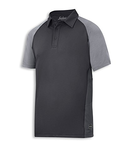 Snickers STC-NM523BG-M heren A.V.S Advanced poloshirt, regular, uni, 100% polyester, maat: M, zwart/grijs