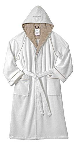 TOM TAILOR Wellness Bademantel, Stickerei auf Tasche und Kapuze, White XL
