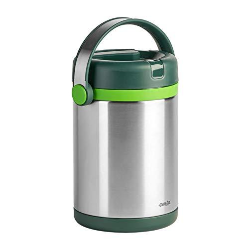 Emsa 512967 Isolier-Speisegefäß, Mobil genießen, 1.7 Liter, Mit 2 Speiseeinsätzen, 100% dicht, Grün/Hellgrün, Mobility