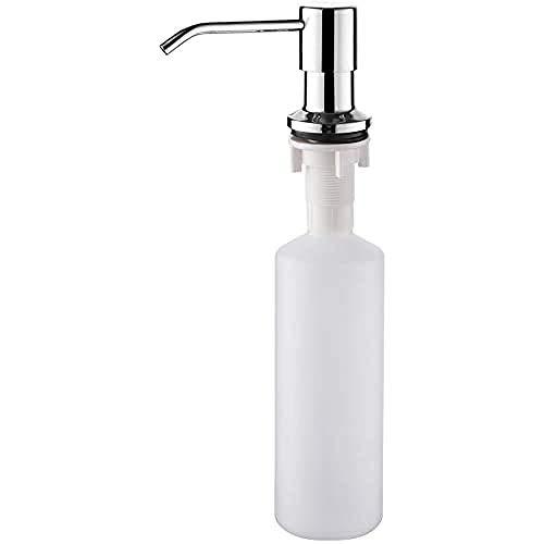 Ibergrif M34027 Dispensador de Jabón Líquido, Detergente de Cocina Incorporado, Plata, 300 ML, Talla única