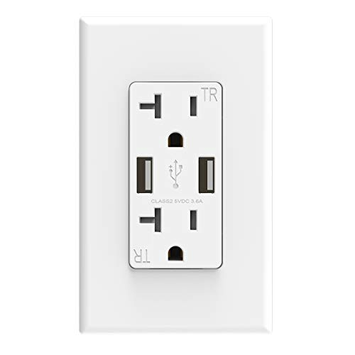 ELEGRP USB Charger Wall Outlet, Dual High Speed 3.6 Amp USB Ports, 20 Amp Duplex Tamper Resistant Receptacle Plug NEMA 5-20R, Wall Plate Included, UL Listed (1 Pack, Glossy White)