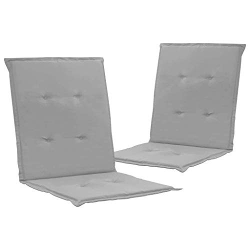 vidaXL 2X Gartenstuhl Auflage für Niedriglehner Kissen Sitzkissen Stuhlkissen Polster Stuhlauflage Sitzauflagen Sitzpolster Grau 100x50x3cm