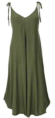 Guru-Shop Boho - Mono 3/4 de verano para mujer, azul, algodón, talla 40, pantalón largo verde oliva 42
