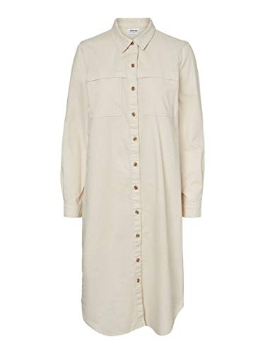 Vero Moda Vmavery LS Long Denim Dress VMA Vestido Informal, Abedul, S para Mujer