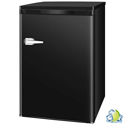 R.W.FLAME Mini Compact Upright Freezer 1.2/2.3/3.0 Cu.ft, Free Standing Freezer with Single Door and Shelves, Adjustable Leveling legs for Home, Office, Dormitory, Apartment (Black)