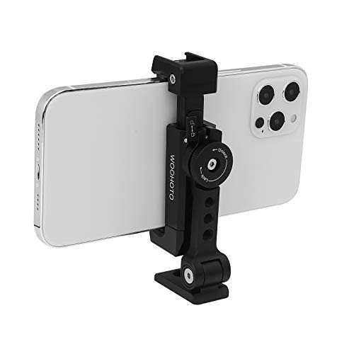 Soporte para trípode de metal para teléfono con zapata fría, Woohoto JL1618S, 360 inclinado y girado, Compatible con soporte para trípode de iPhone, Adaptador de clip para teléfono inteligente Samsung