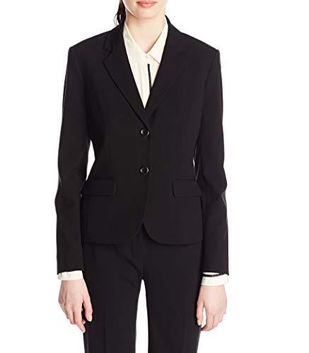 NINE WEST Women's Two Button Bi Stretch Notch Suit Jacket, Black, 16
