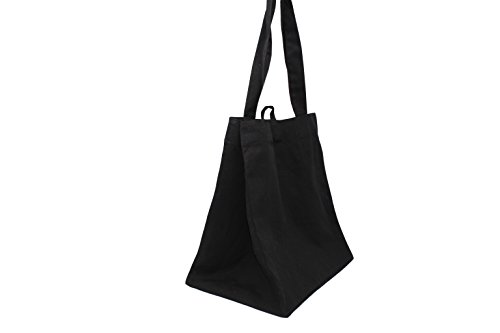 Earthwise Reusable Grocery Bag Shopping Tote 100% Natural Cotton Canvas Machine Washable Multi Purpose for Beach Shopping Tote in Black (Set of 3)(Black)