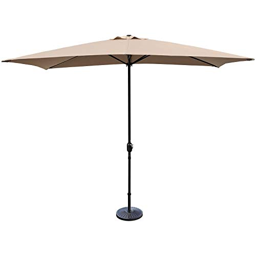 ABBLE Outdoor Patio Umbrella 10Ft x 6.5 Ft Rectangular with Crank, Weather Resistant, UV Protective Umbrella, Durable, 6 Sturdy Steel Ribs, Market Outdoor Table Umbrella, Tan