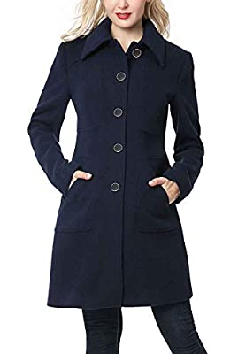BGSD Women's Anna Wool Blend Walking Coat Navy Plus Size 1X from