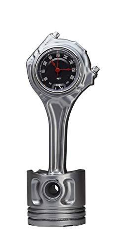 ROOGU Bureauklok van Gerecycled Auto-onderdeel Cilinder Zuiger Chroom Snelheidsmeter